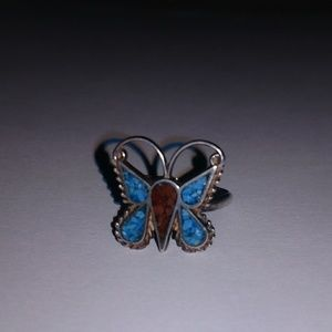 Sterling silver butterfly ring w turquoise & coral